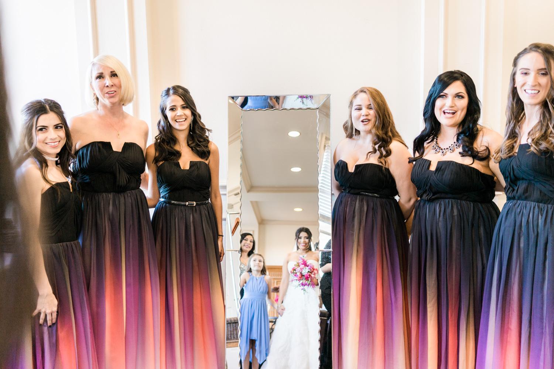Bridesmaids admiring the bride pose | Bridal portraits at the Ruby Hill, CA