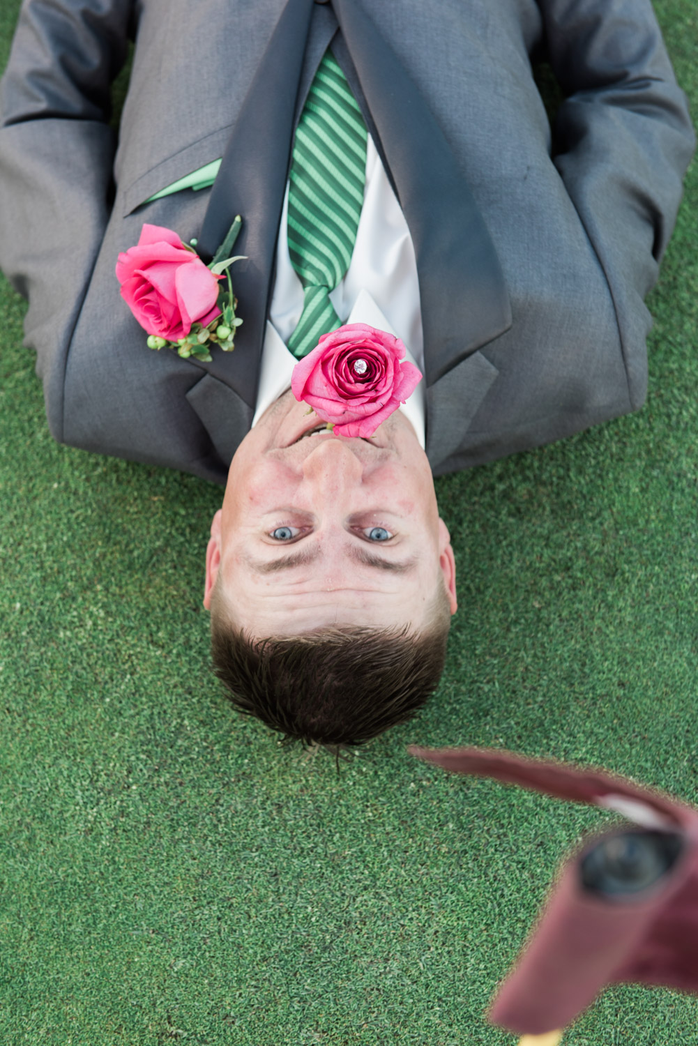 This groom surely knows how to play along.