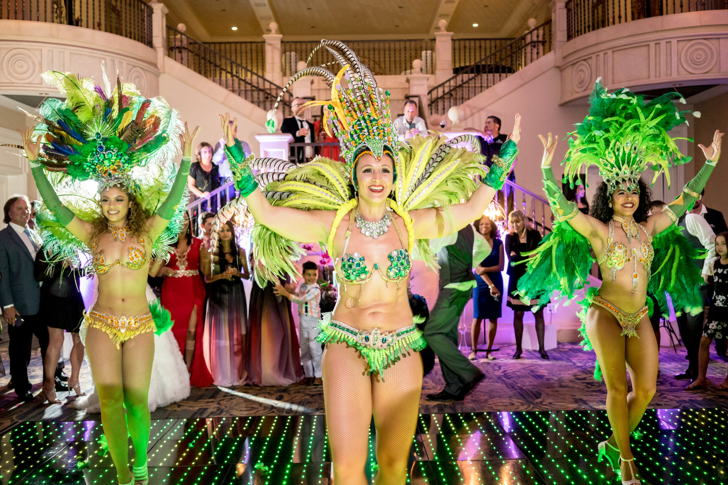 The samba dancers were a great surprise for everyone during the wedding reception.