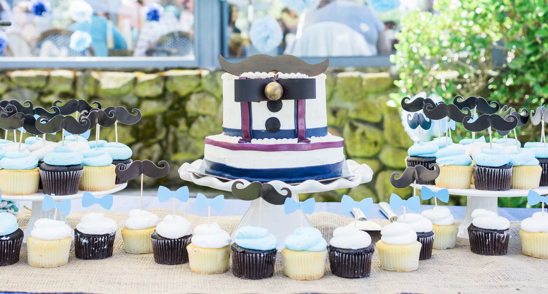 Little man themed baby shower cake from Alexander's Patisserie