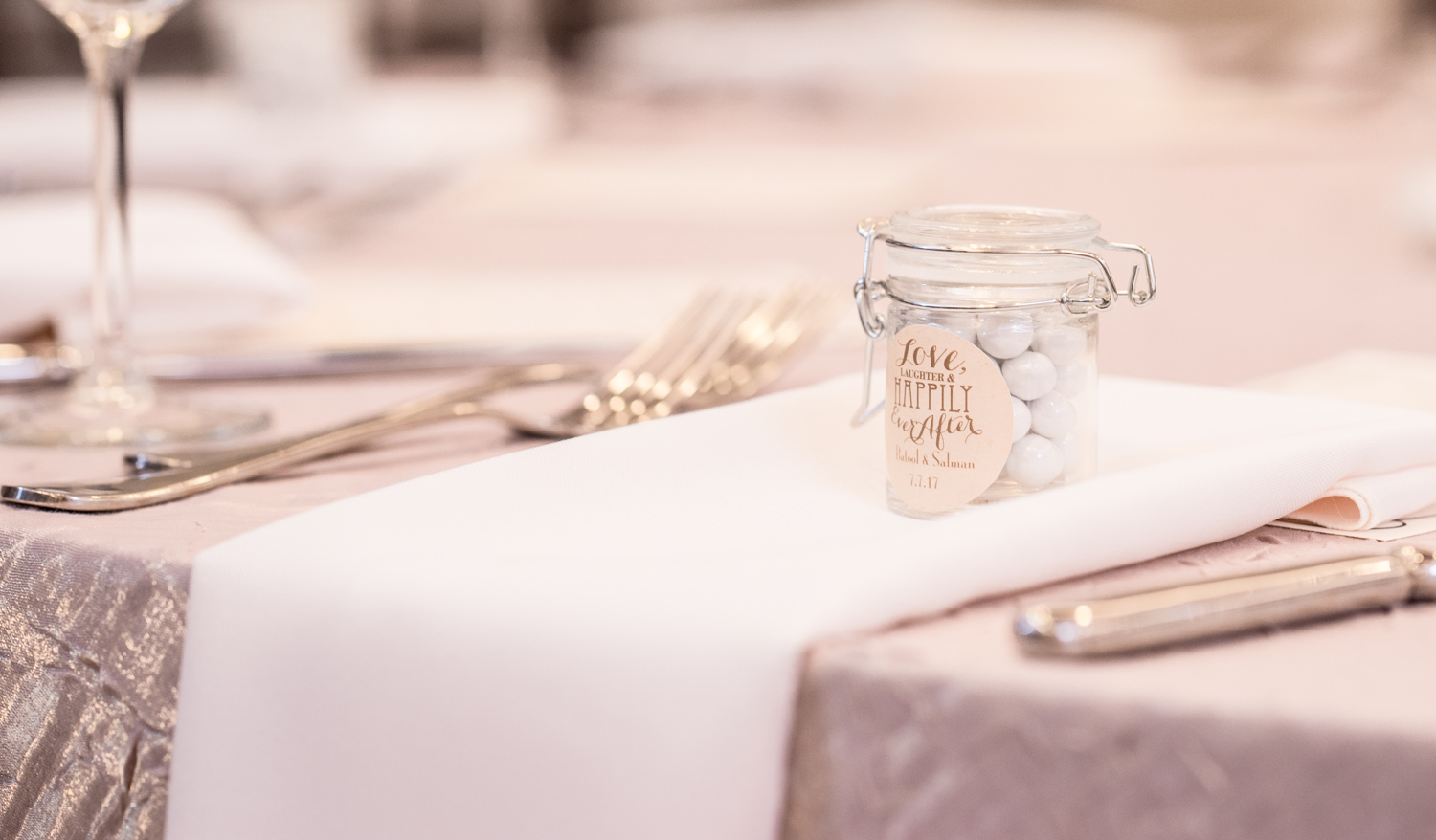 Love, Laughter, Happily ever after table decor picture.