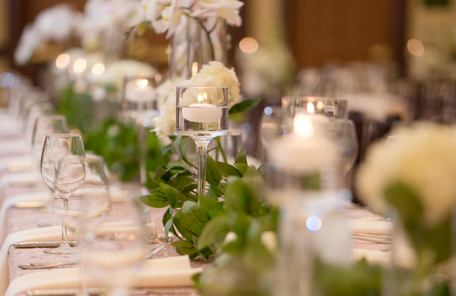 White, Green and Beige elements used for table decor.