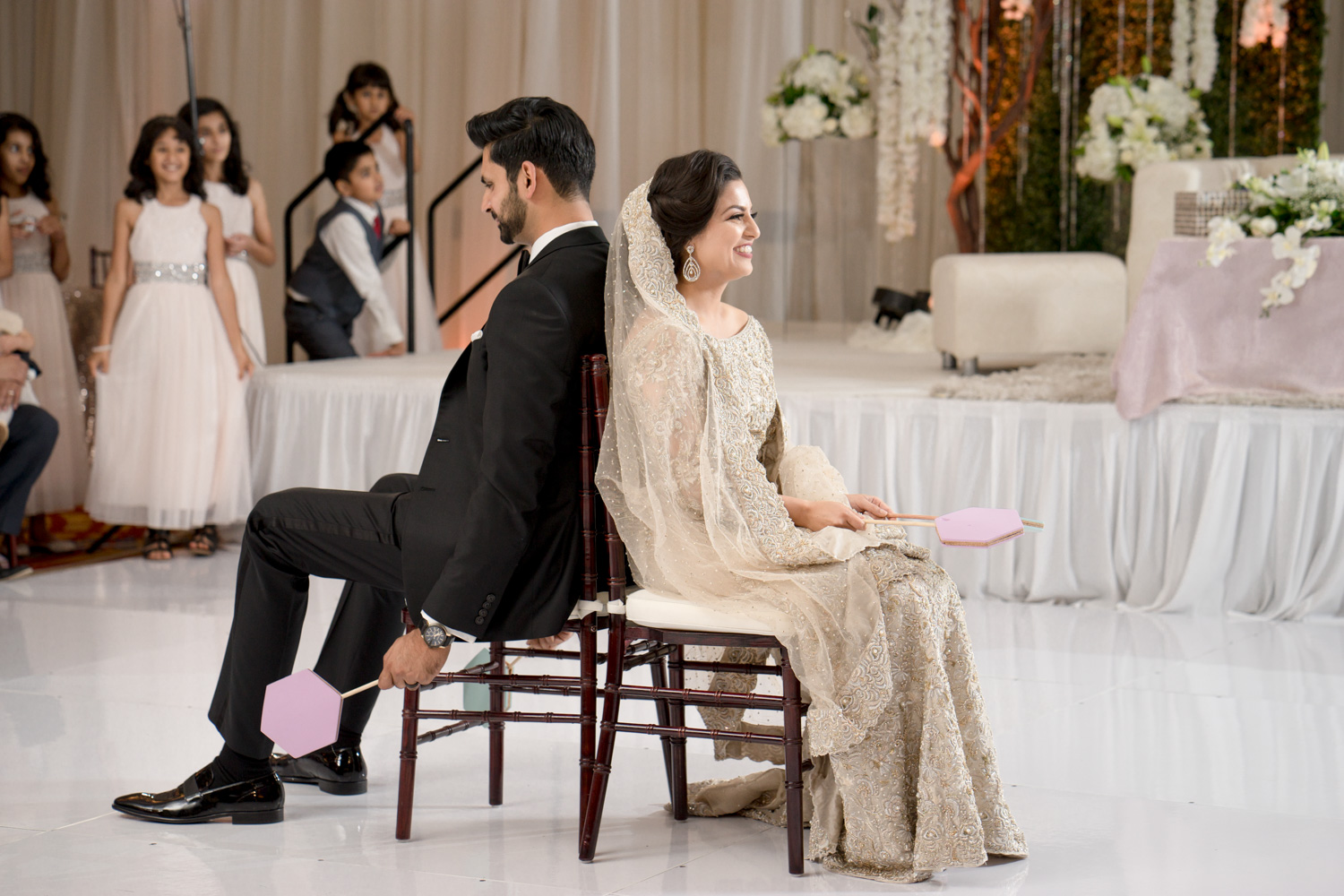 """Bride & Groom playing the infamous """"How well you know your spouse? game"""""""