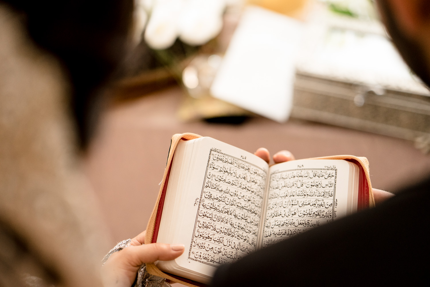 Bride & Groom reading the holy book Quran.