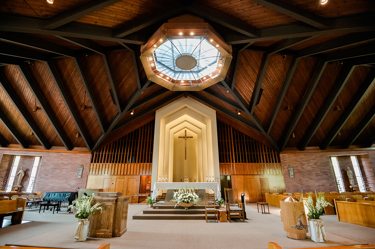 The Interiors of St Raymonds Church in Menlo Park.