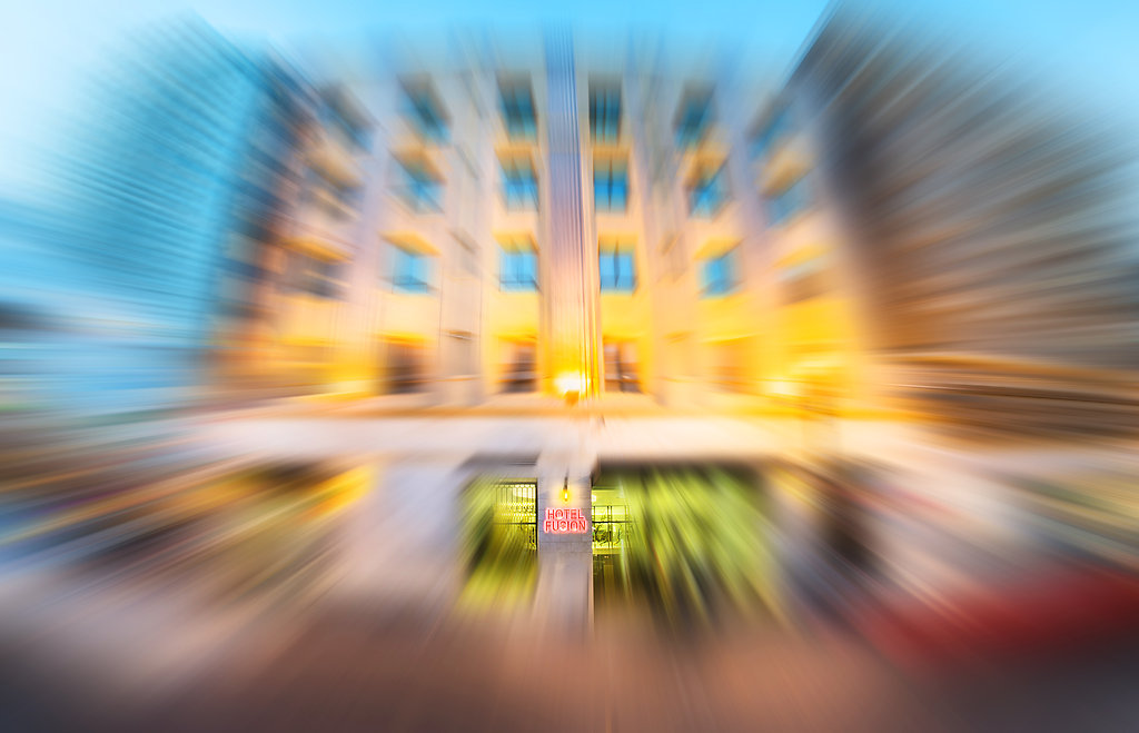 Hotel Fusion zoom burst shot - An interesting look to create focus on the sign board.