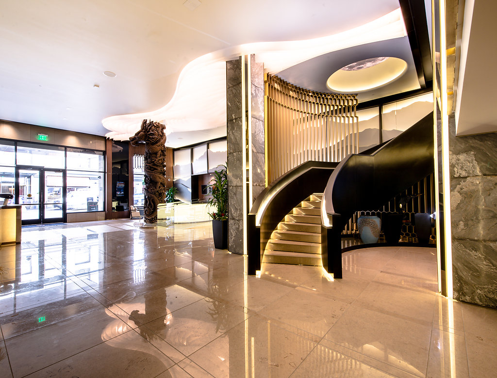 Hotel Fusion foyer with grand staircase leading up to Taste on Ellis.