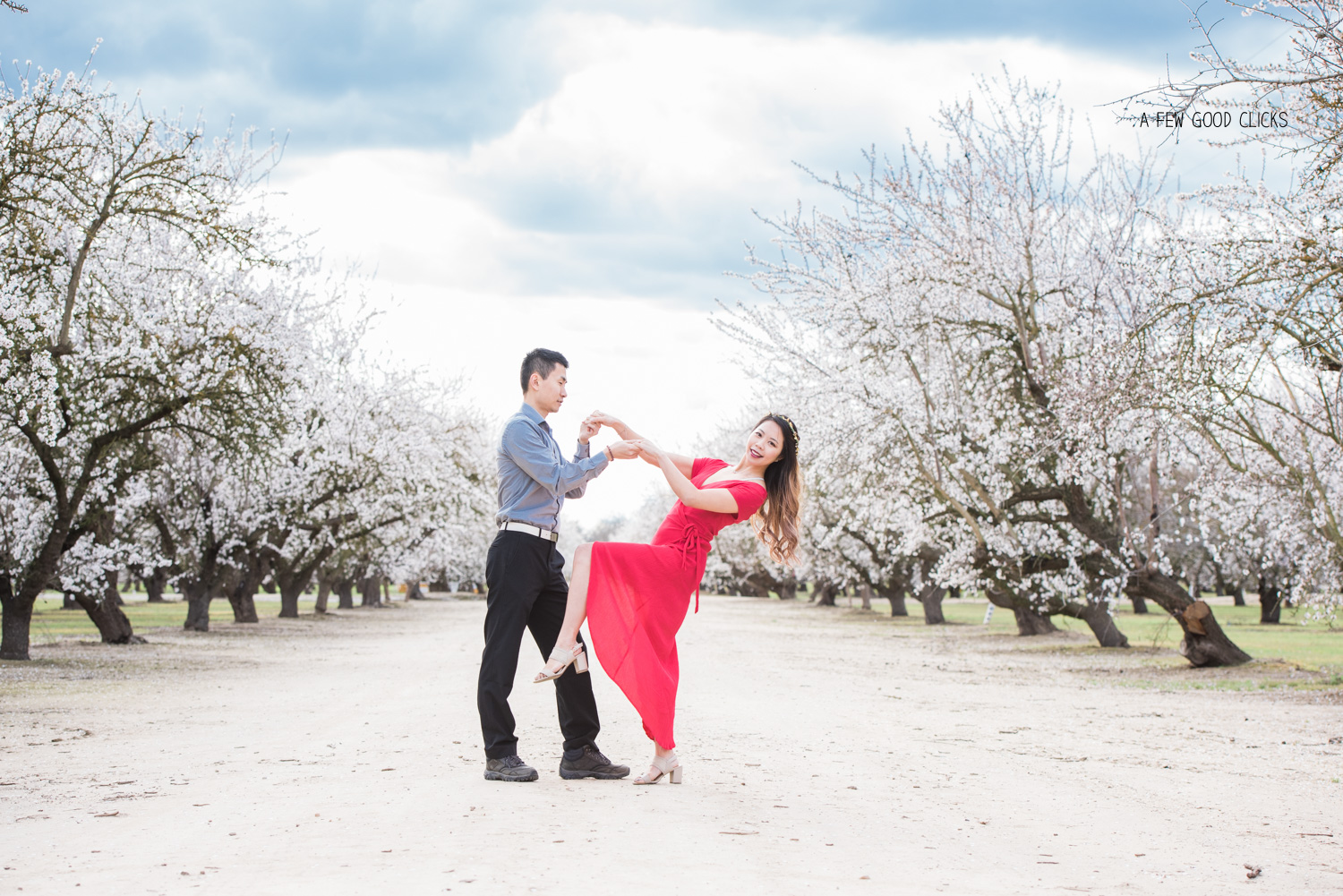 Couples photos against blooming frangipani