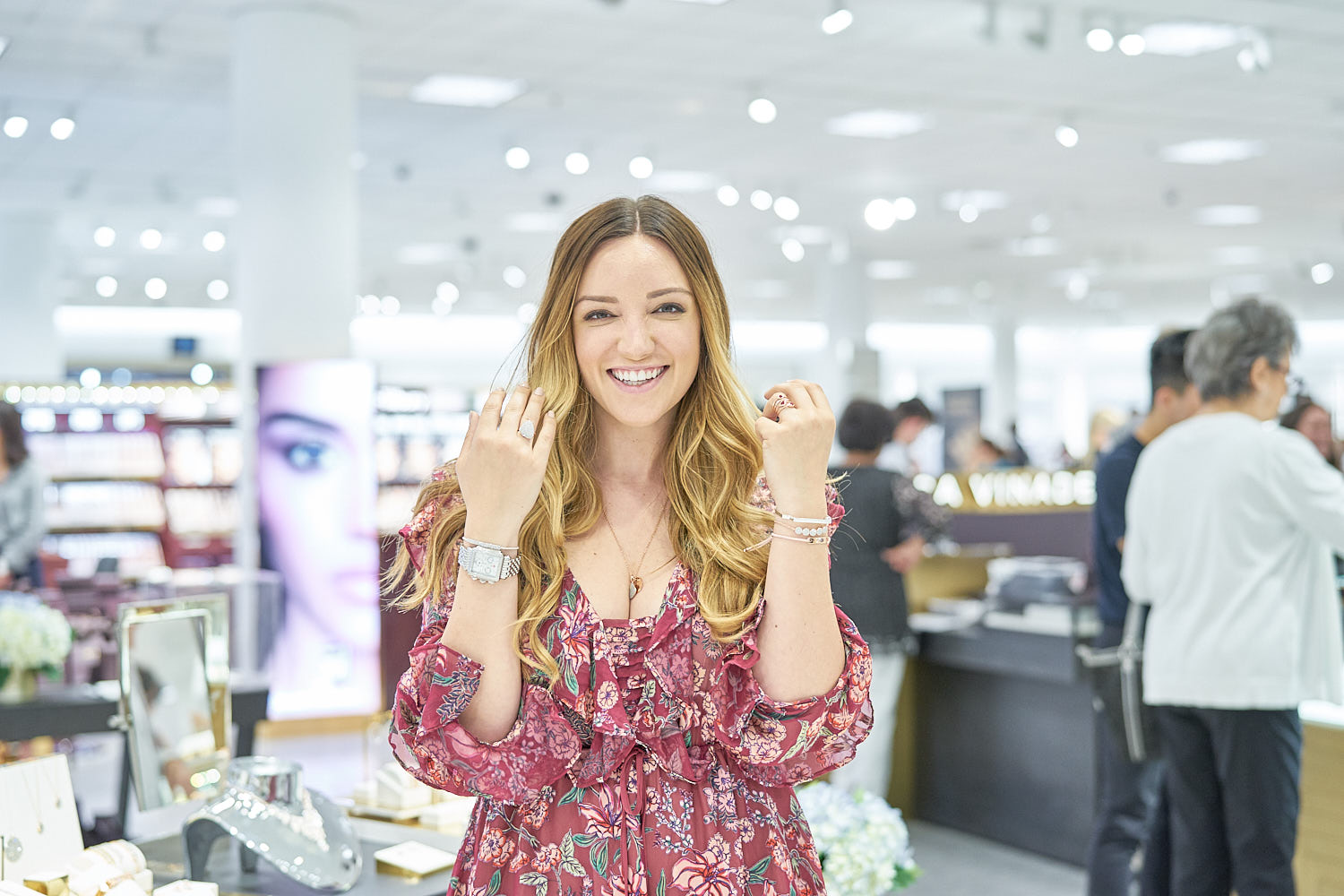 Jennifer Henry-Novich showing all the pretty jewellery she is trying during the event.