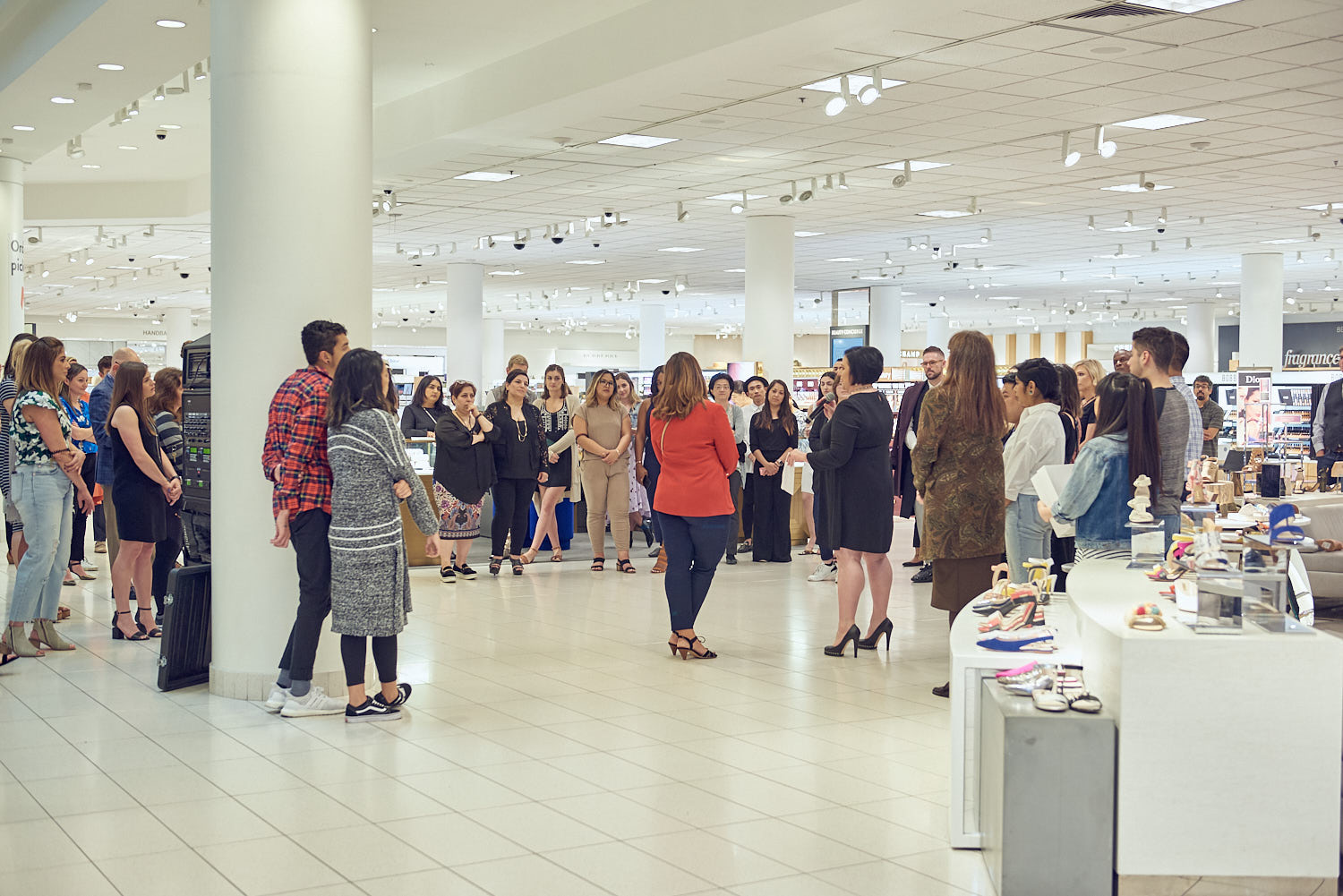 Nordstrom team geeting together before the launch event of Monica Vinader Jewellery line.