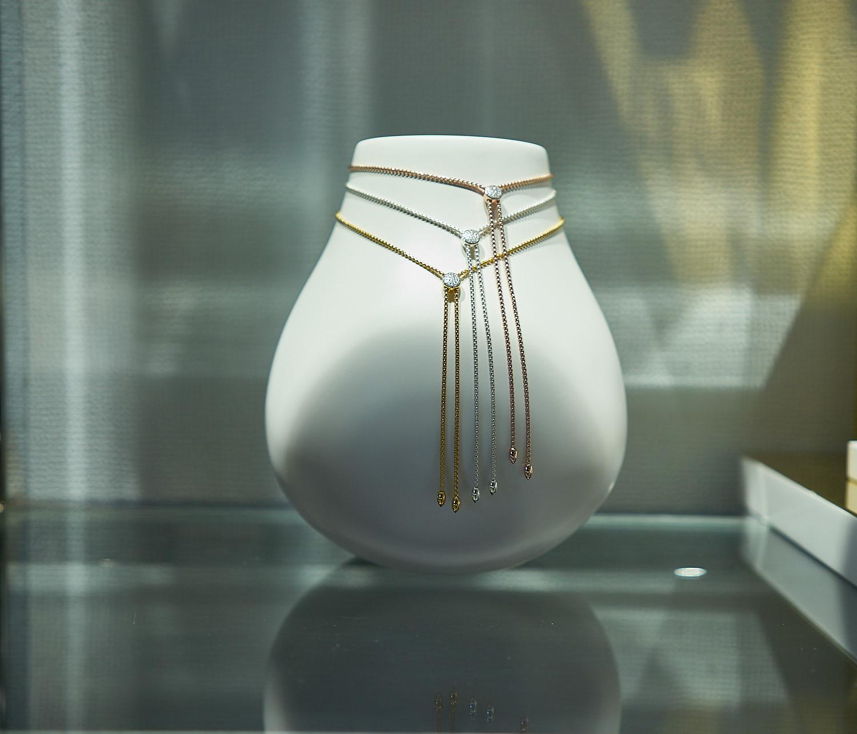 Elegant necklace on display during the brunch event.