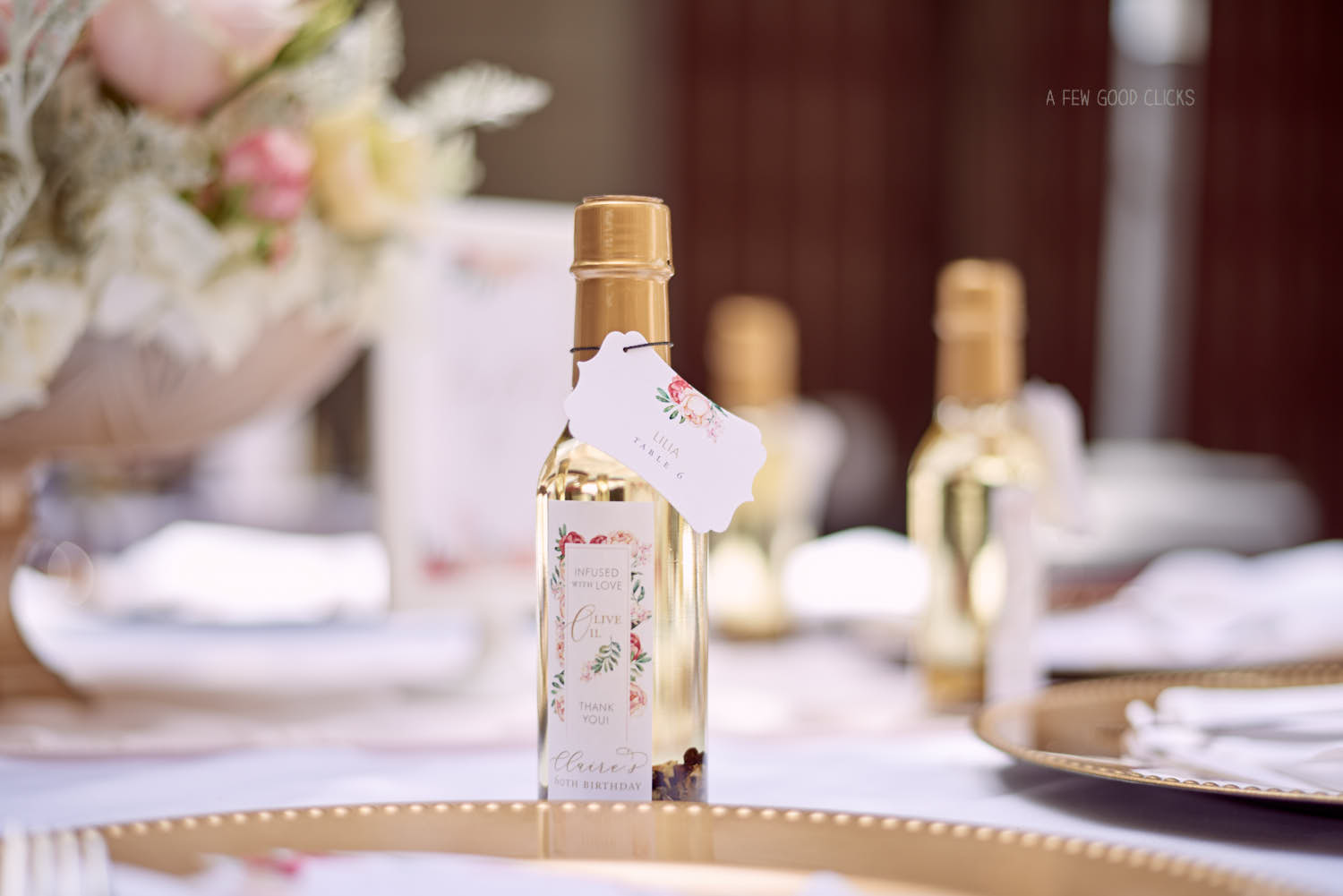 Personalise your party favours - Olive oil bottles infused with Love:)