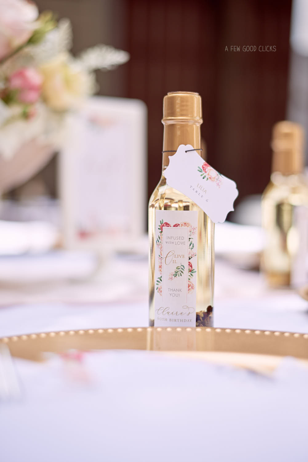 Custom made olive oil bottle for party favours