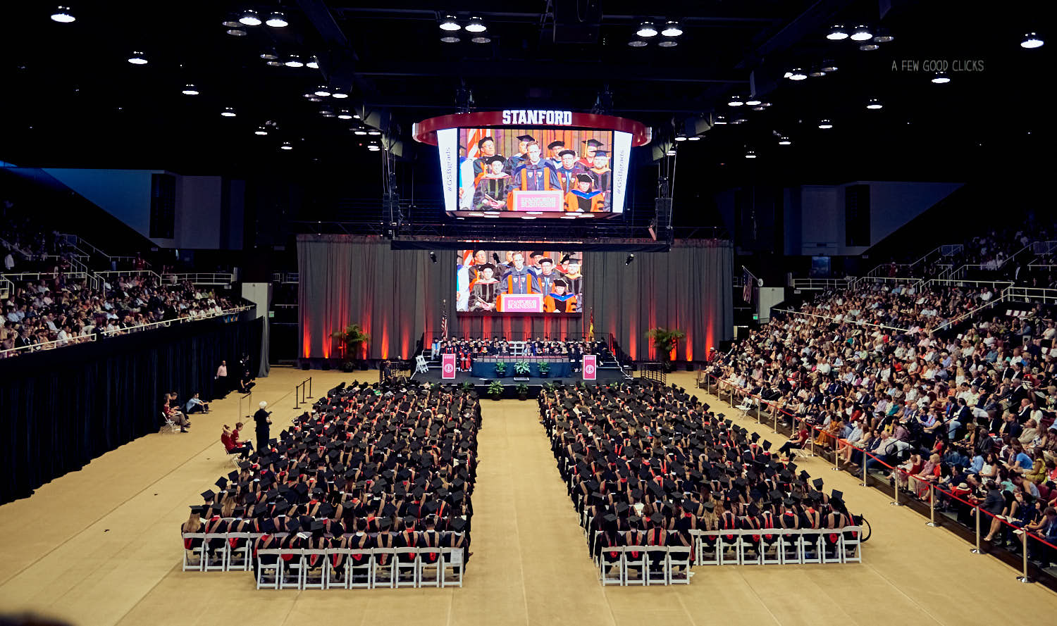 2018 Graduation day ceremony held at Maples Pavilion, Stanford university.