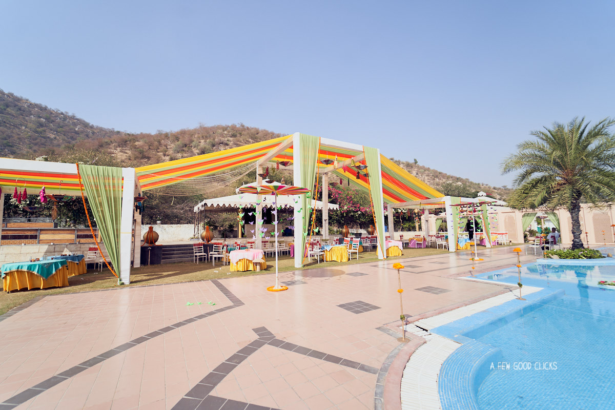 Poolside set-up at the Rajasthali resort for the haldi and chuda ceremony.