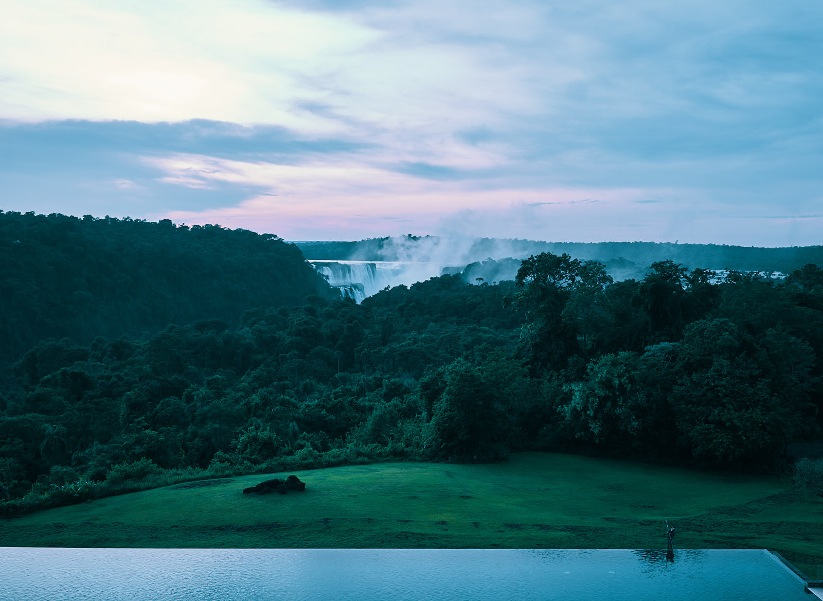 View of Iguazu falls just before the sunrise from Melia Hotel.