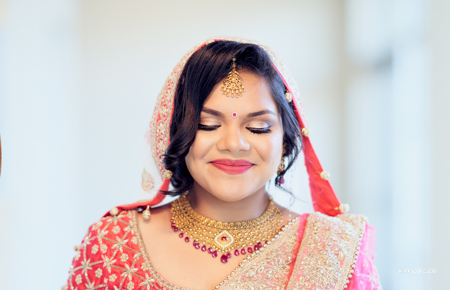 Bridal Portraits during Indian Wedding in Sunnyvale Temple, California.