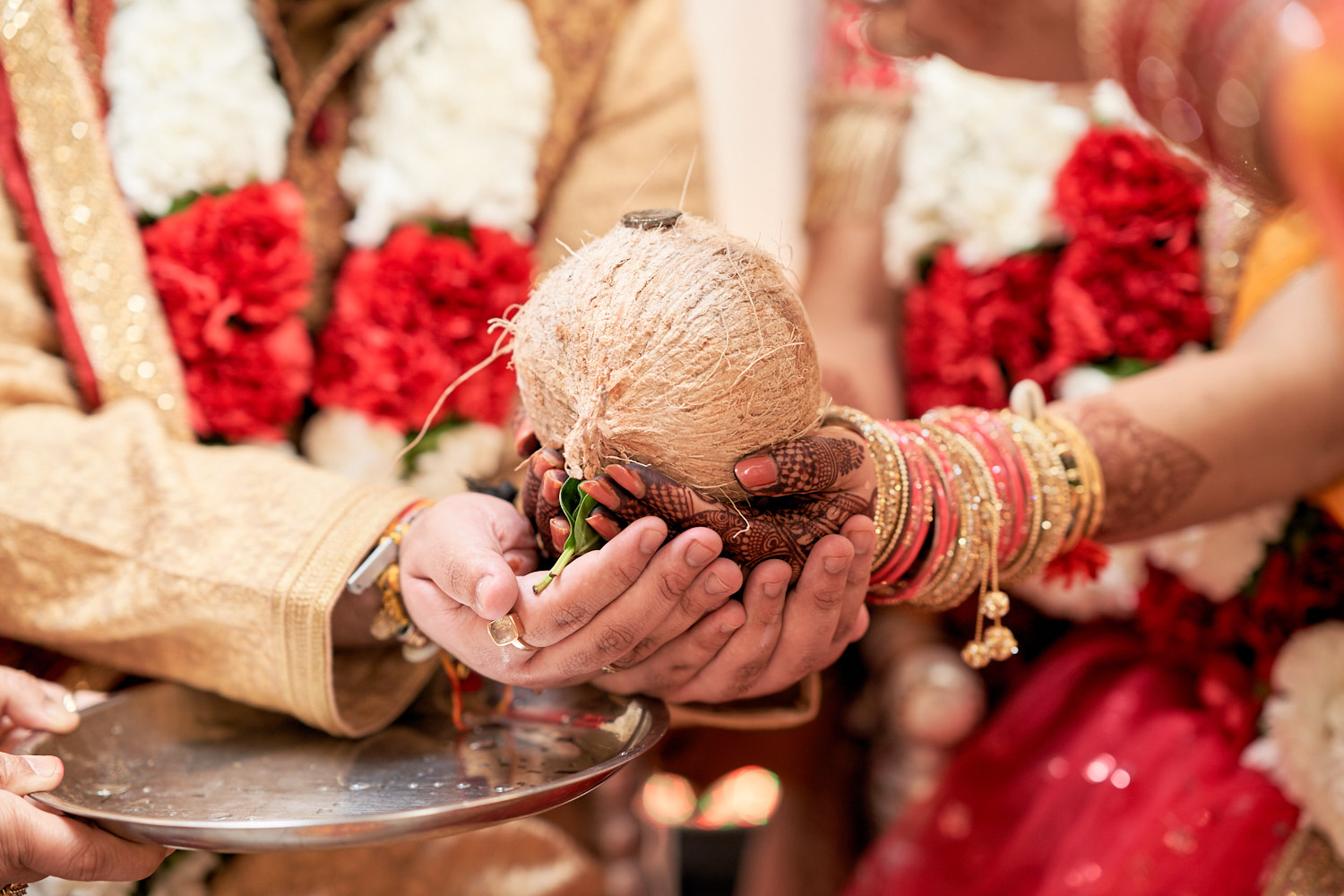 The coconut ceremony during Indian wedding.