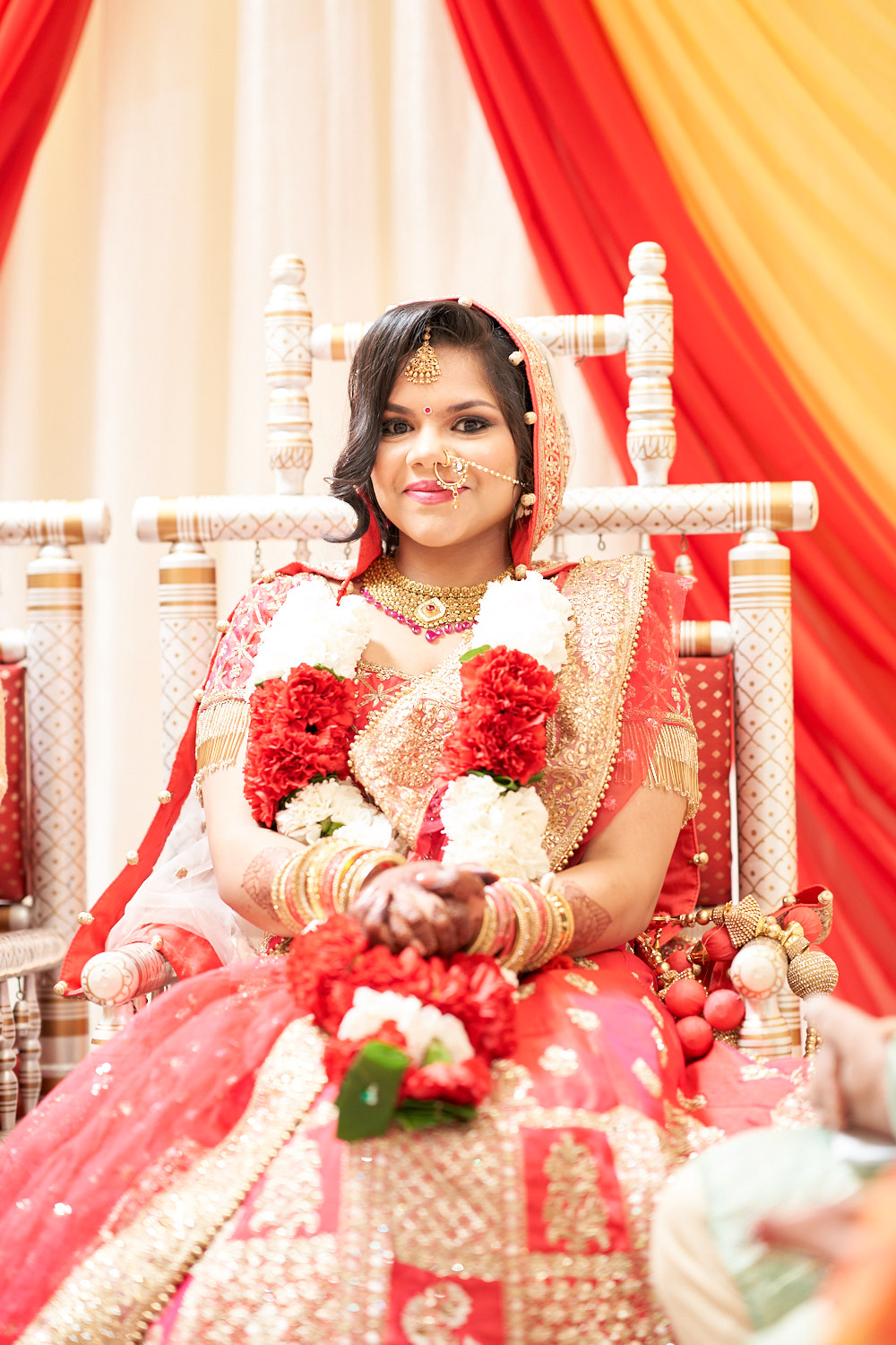 Beautiful beaming bride at the Mandap in Sunnyvale temple.