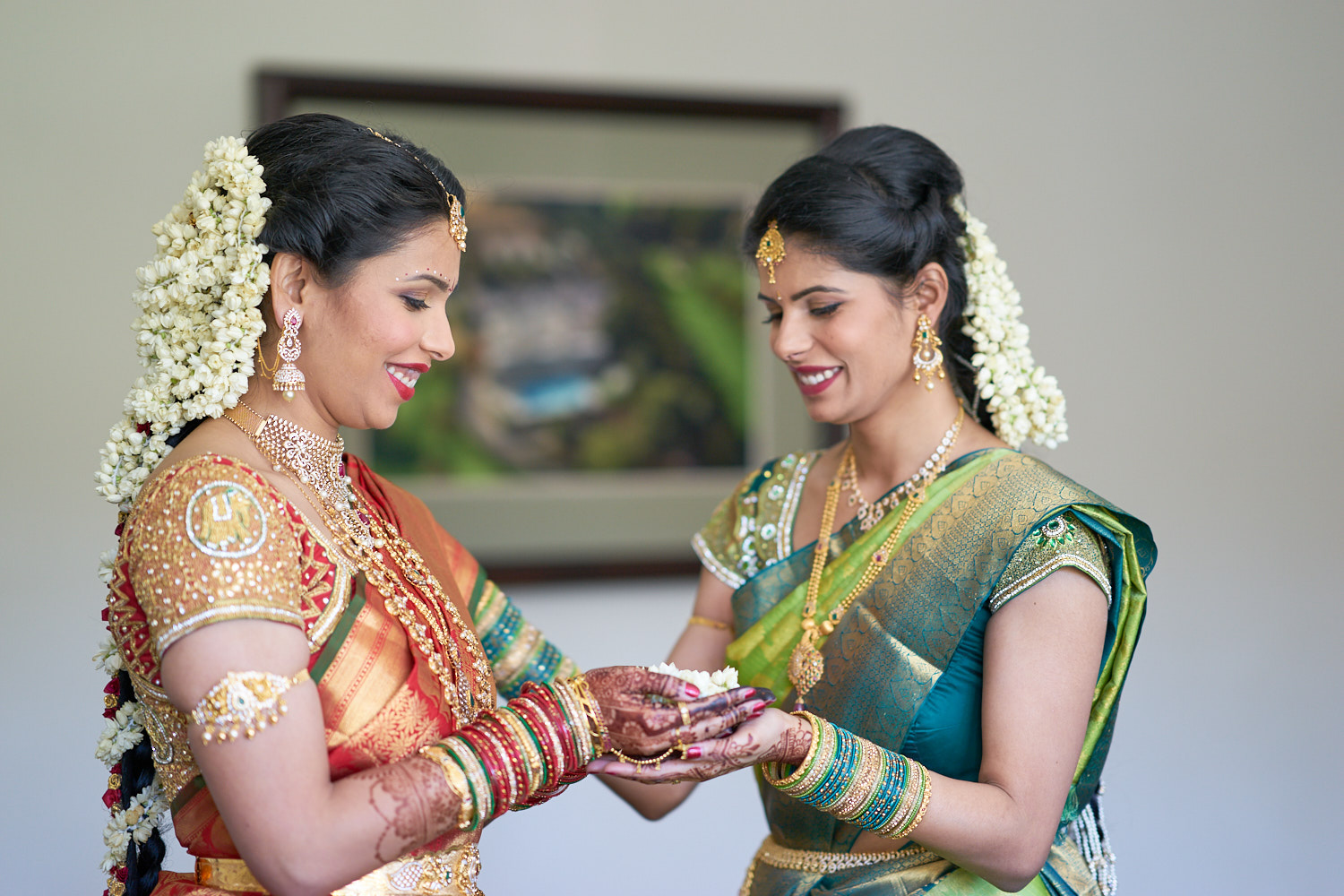 Bride with her sister.