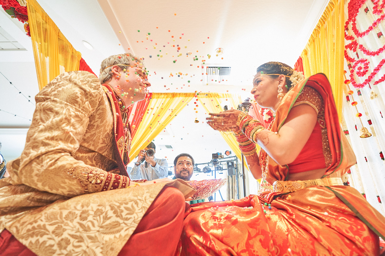 Throwing confetti on each other…isn't this the best part of Telugu tradition?