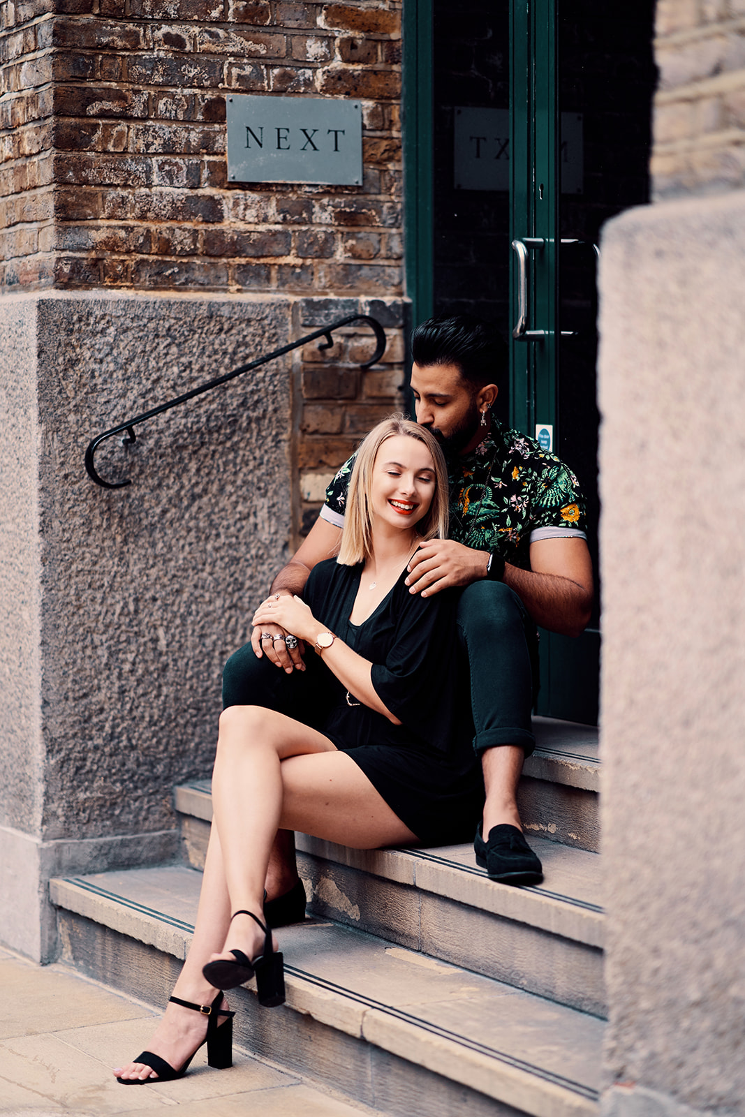 Engagement style photos shot outside Next office near Hays galleria.
