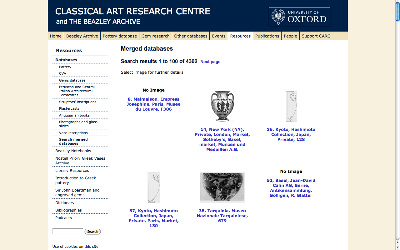 Screen capture from the Beazley Archive Database