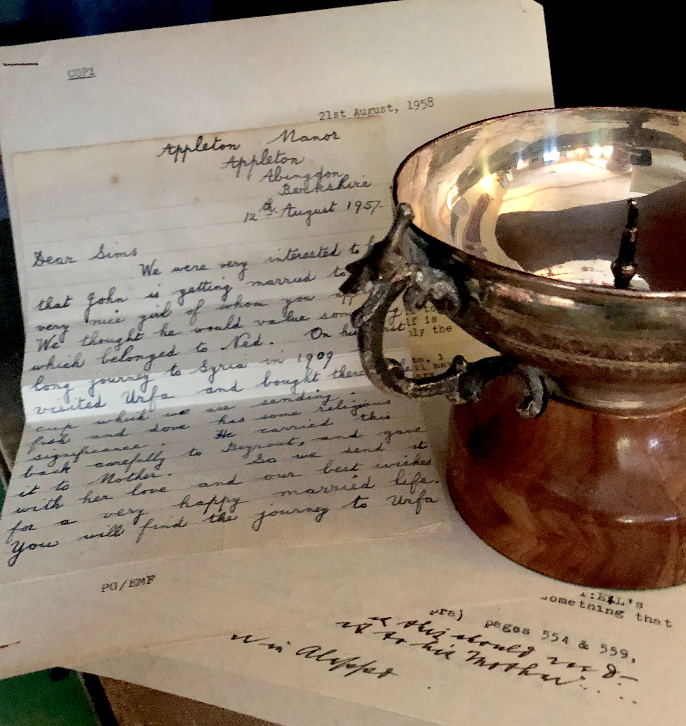 A unique collection of T.E. Lawrence family letters relating to Lawrence's first Syrian expedition, together with objects brought back to England from that 1909 trip, will be on display — along with many other items connected with Lawrence and his Middle Eastern travels.