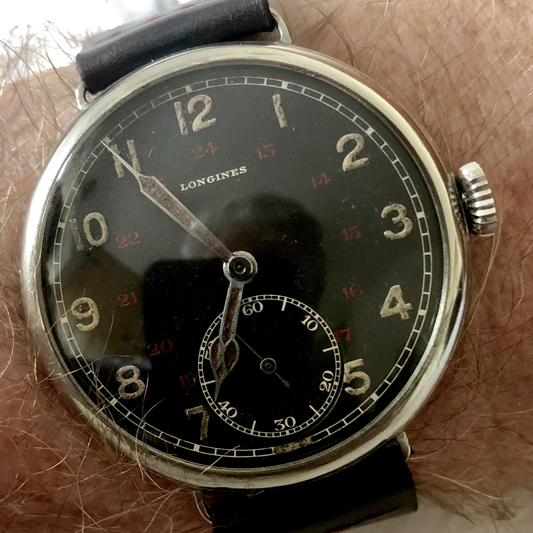 Longines 17.26 Pilot's Watch - This rare Longines 17.26 caliber pilot's watch was delivered to Longine's agent in Poland, Zipper & Co., on July 8, 1933. It is the earliest 17.26 pilot's watch recorded. In 1933, Poland had one of the largest air forces in the world and was significant deterrent to the fascist regimes that were springing up around it in the mid-1930s. After Germany invaded Poland near the beginning of WW2, some Polish Air Force pilots – including the original owner of this timepiece – made their way to the UK and flew for the RAF.