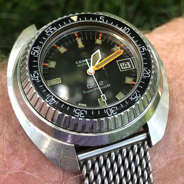 """Certina DS1 Prototype Dive Watch owned by John VanDerwalker - On January 31, 1969, four divers – Ed Clifton, Conrad Mahnken, Richard Waller and John VanDerwalker – descended to the ocean floor to begin an ambitious project aimed at assessing the human capacity for surviving in a weightless and airless environment. With obvious applications for the space program, the project, dubbed """"Tektite,"""" was co-sponsored by NASA and the Department of the Interior. The four aquanauts ultimately established a new world's record for saturation diving: 58 days. This watch, supplied as a prototype to VanDerwalker, was specially designed to withstand significant pressure for extended periods."""