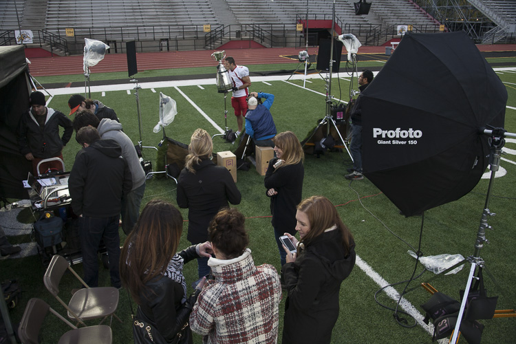 The set on location at Varsity Stadium in Guelph.