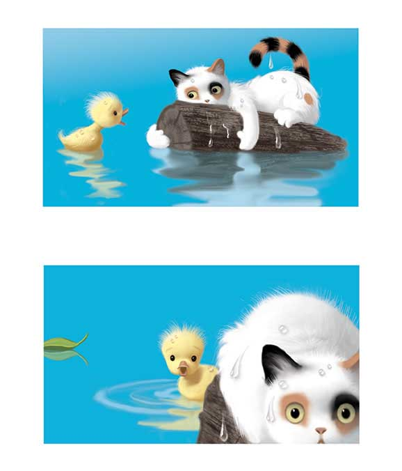 Duck & Cat in Water