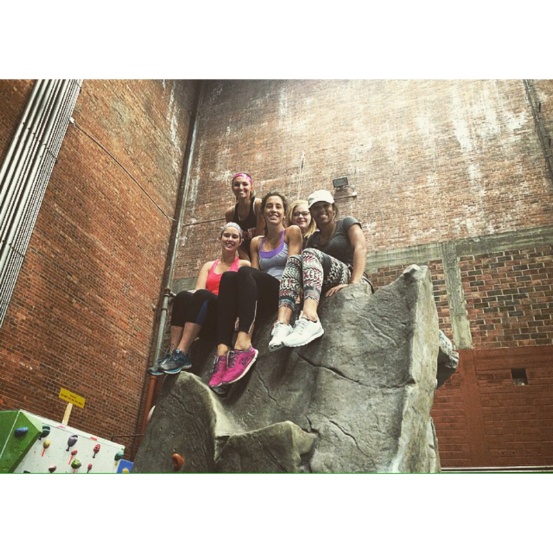 Rock climbing with my roommates! It was definitely a workout, but so much fun.