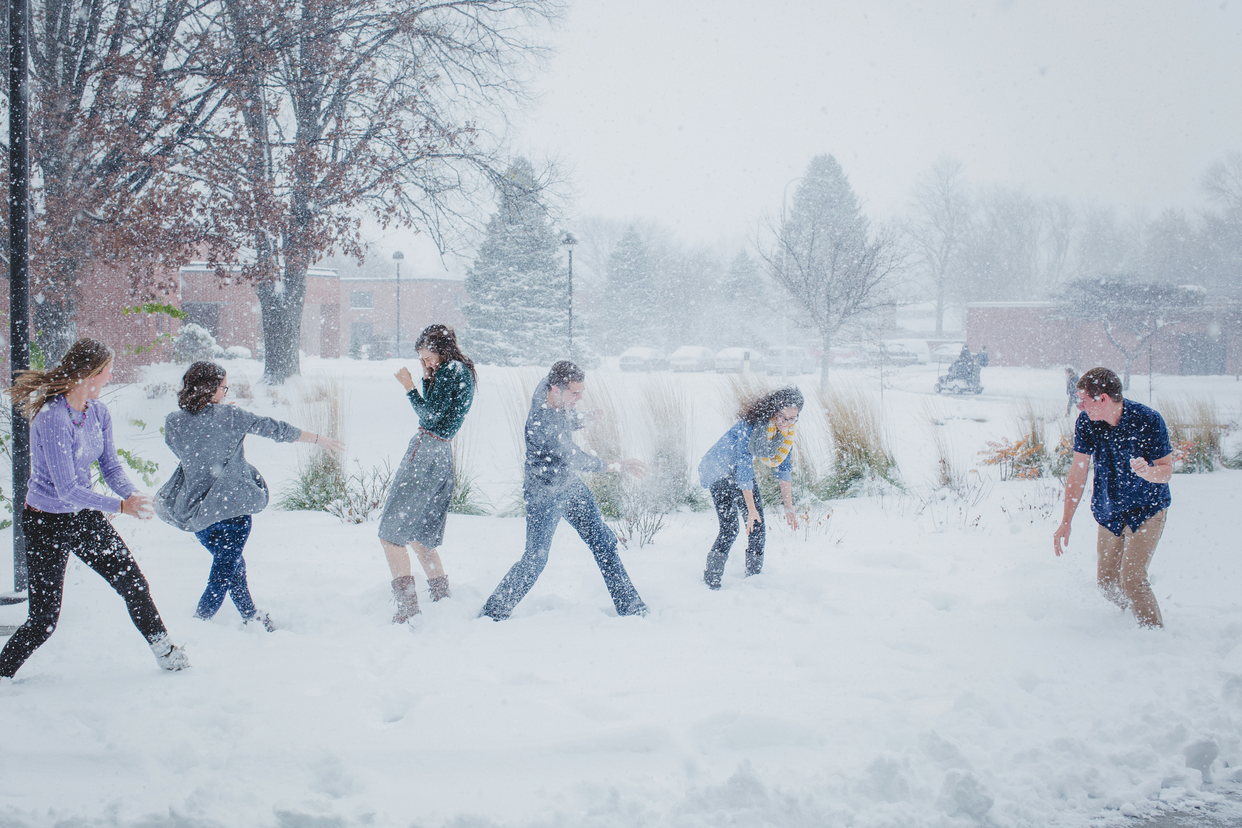 I am thankful for being apart of a fun, talented team of students that write for this blog. This is the snowball fight that proceeded the header photo above.