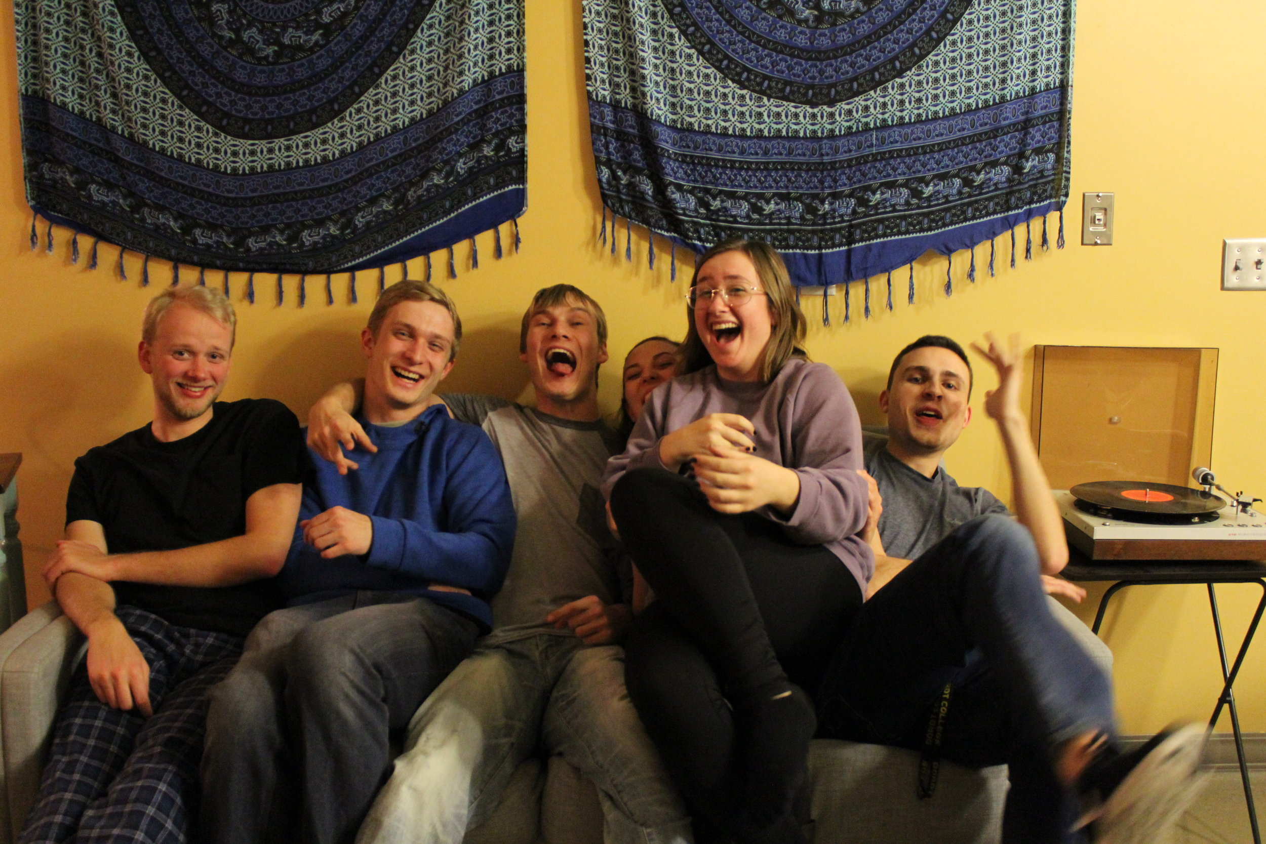 Here's Player 2 Productions' 2017 team (Josh, Ben, Josh, Annie, Emi, and Jacob) awkwardly trying to squeeze onto a single couch and take a self-timed photo at 3:00am after we finished filming.