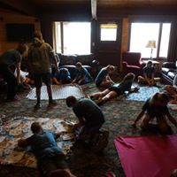 Some of the small groups making blankets.