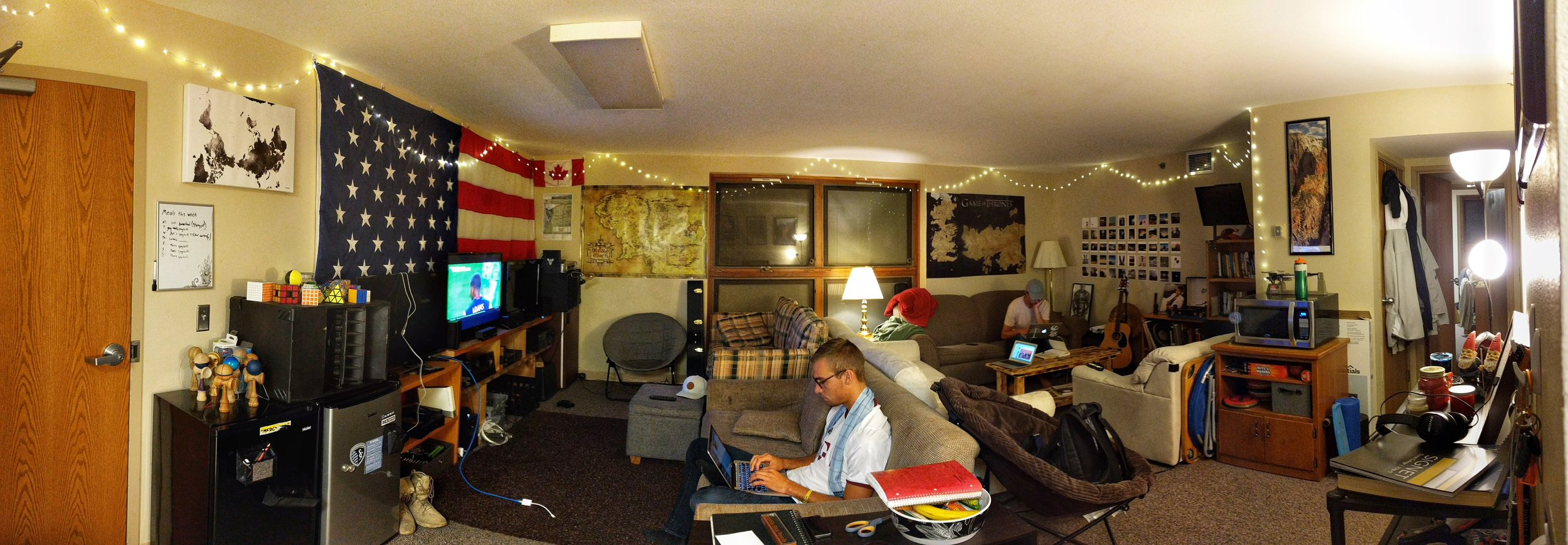 An inside look on my apartment. Pictured (left) is Jake Brouwer, working studiously on his homework and (right) Jonathan Beltman typing up a paper. Feel free to stop by Southview 208 anytime. The door's always open.