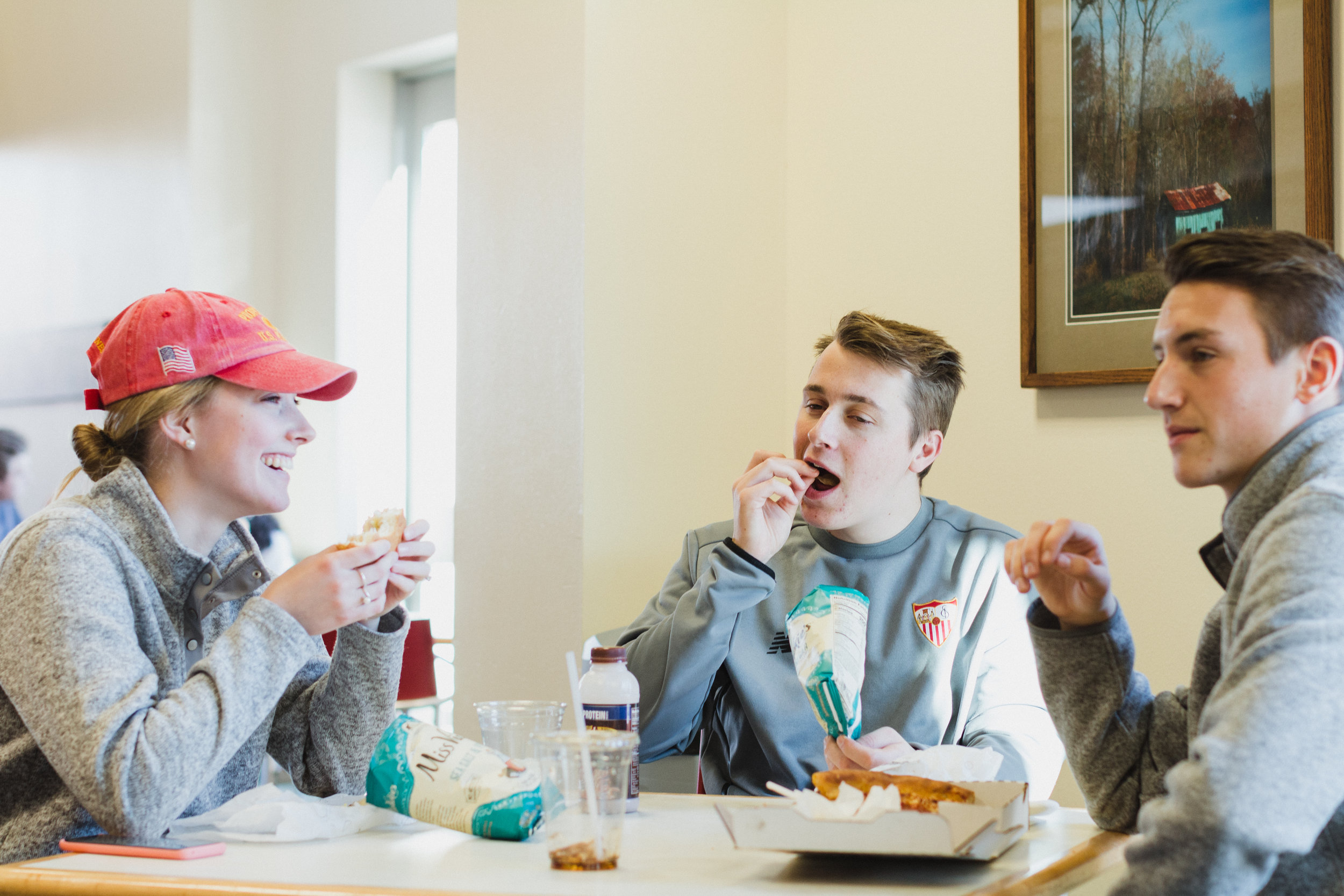 Students enjoy hot food at the Grille, a dining option at Dordt located in the Campus Center.