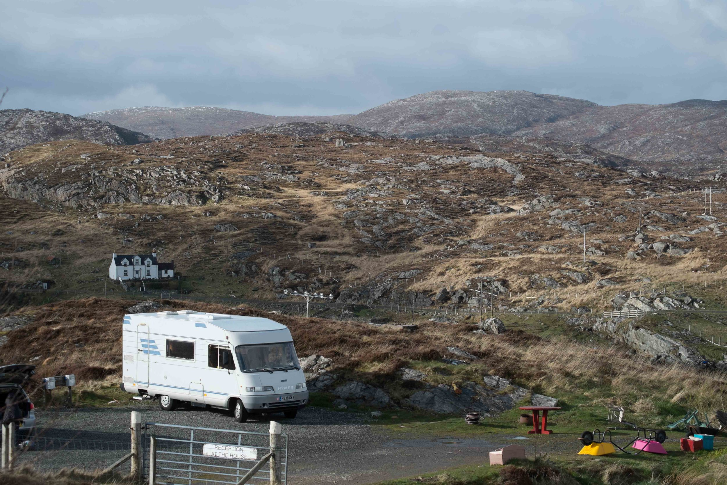 Our camping spot in the rocky bleak landscape on the east coast of South Harris.