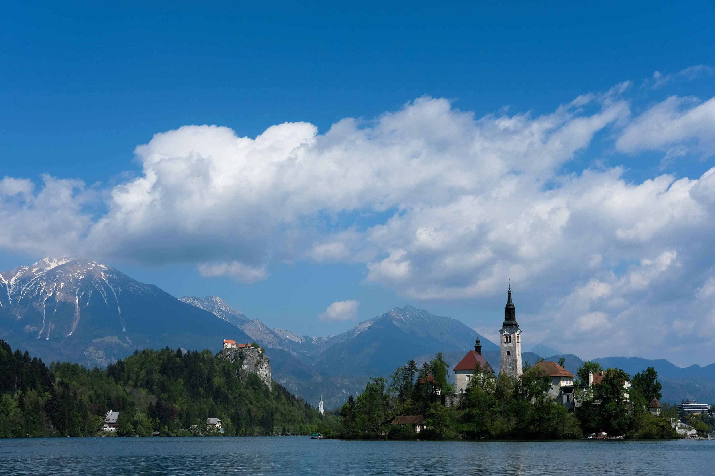 Lake Bled, Slovenia with its island Church and clifftop castle.