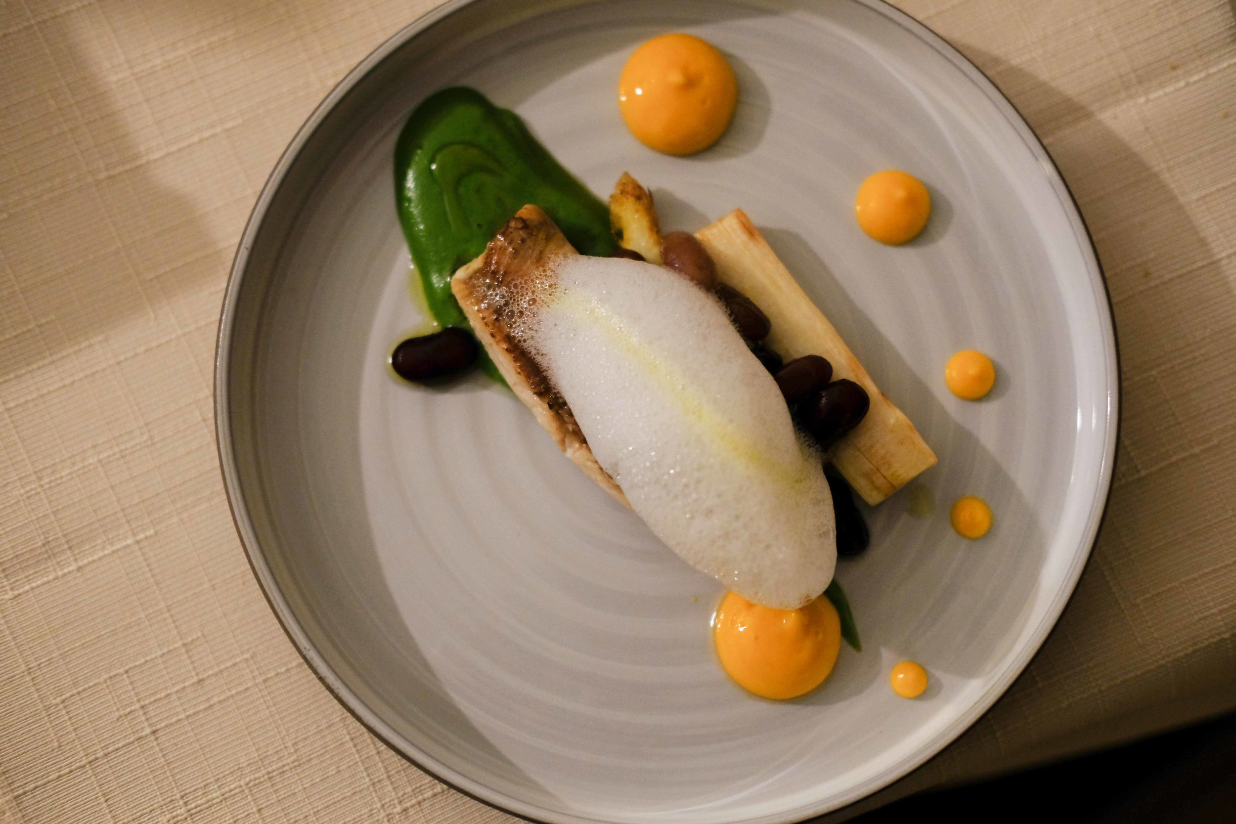 River trout on prosciutto and covered with lemon foam, white asparagus with sweet brown beans, green asparagus puree and dots of puree of carrot.