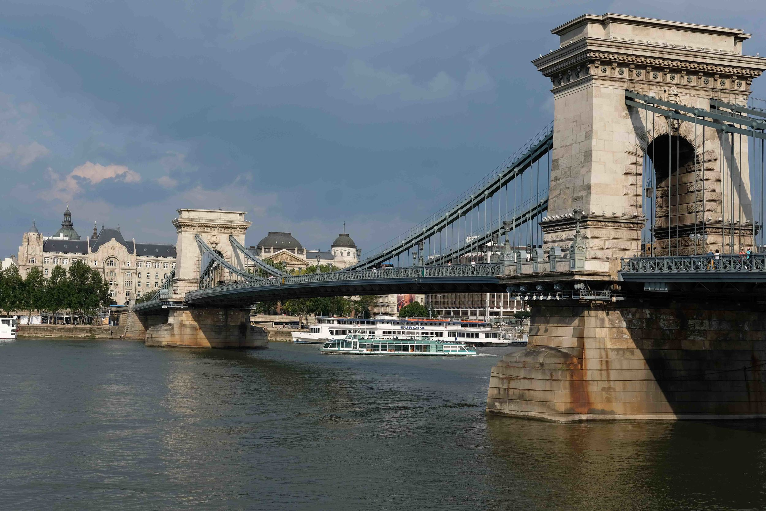 Rebuilt Chain Bridge. Original demolished in WWII From Buda side looking over to Pest.