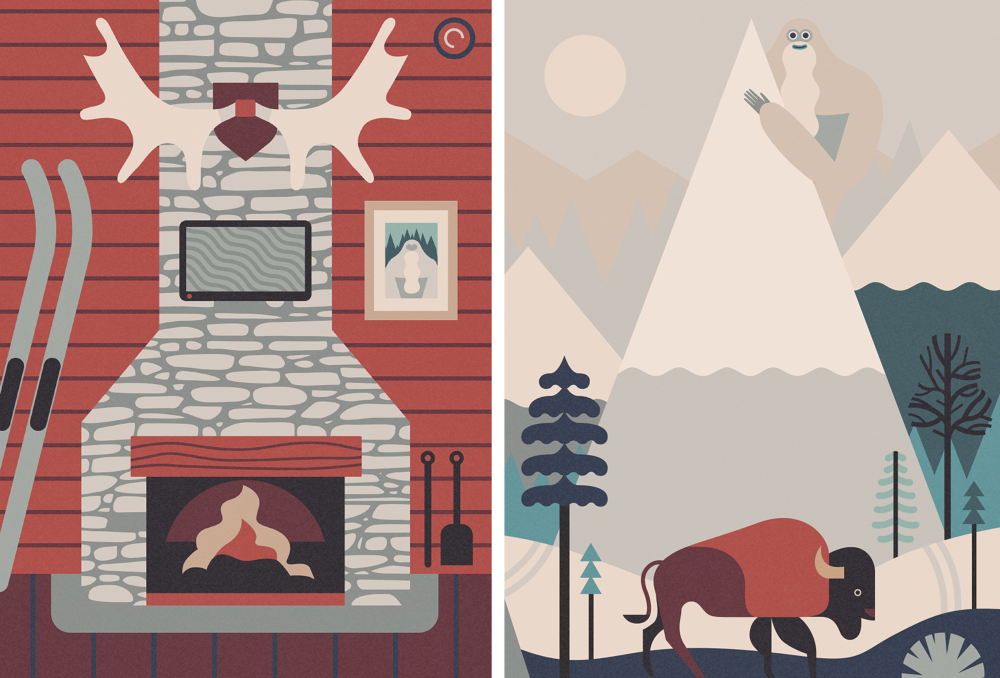 Yeti-Antlers-Moose-Bison-Buffalo-Fire-Fireplace-Photo-TV-Trees-Mountains-Owen-Davey-Illustration_1000.png