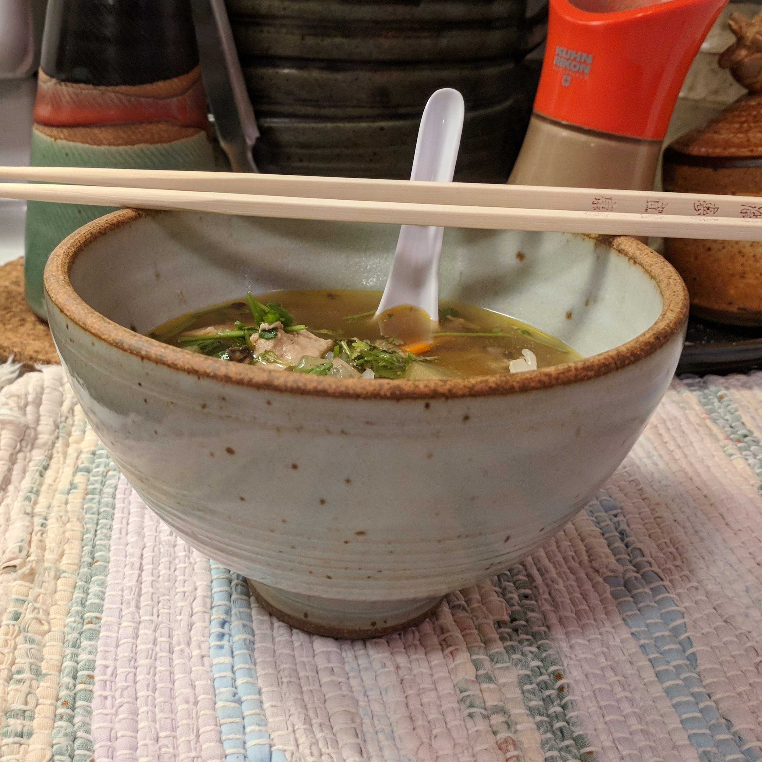 Homemade pho by Jane, TuSk bowl by me.