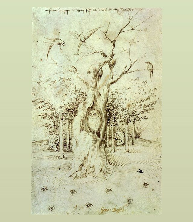 "EN • ""The Trees have Ears and the Field has Eyes"", (I will look, stay silent, and listen), a late medieval proverb drawn by Hyeronimus Bosch, 1500.  PT-BR • ""O Campo tem Olhos, o Bosque tem Ouvidos"", desenho de Hyeronimous Bosch, 1500. Um equivalente medieval tardio do nosso ""as paredes tem ouvidos""."
