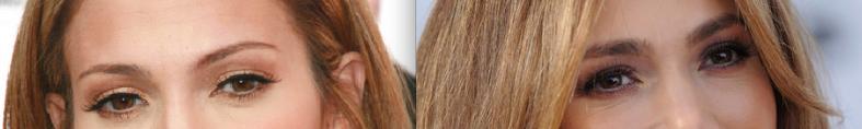 Eksempel på bryn med og uten fylde.Bildene er av Jennifer Lopez, med en mer moderne, naturlig look på bildet til høyre