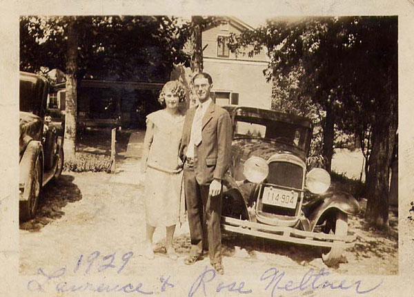 Rose and Lawrence Neltner circa 1929 in front of the Ritter home, Rose's home-place in Camp Springs.
