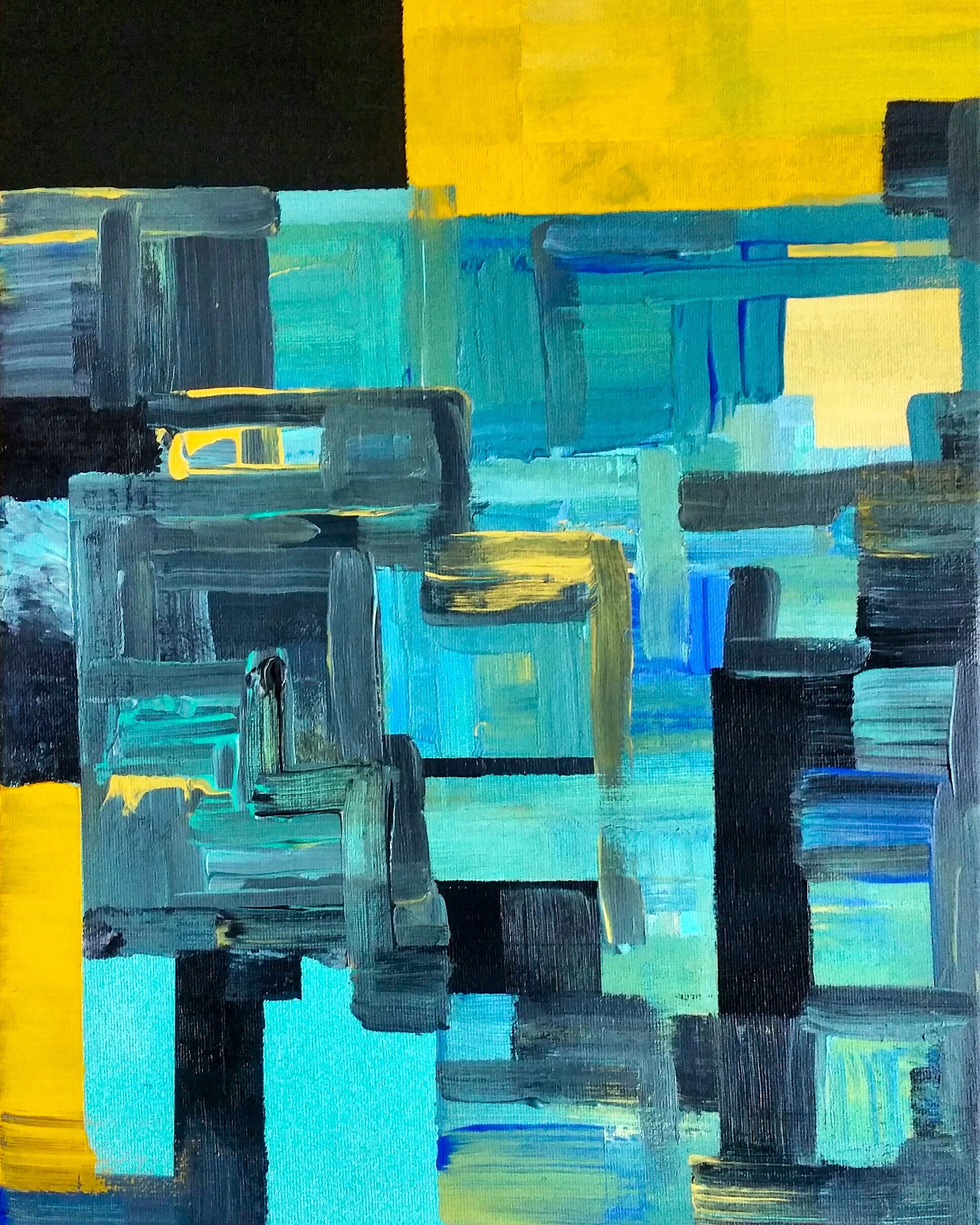 Teal & Yellow Squares #2 2017