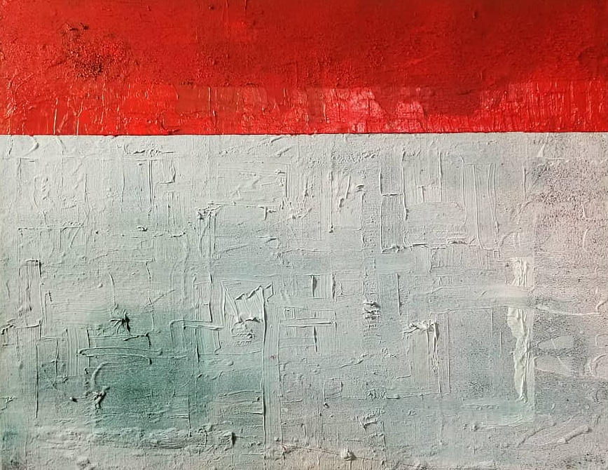 Red on Teal Untitled 2018