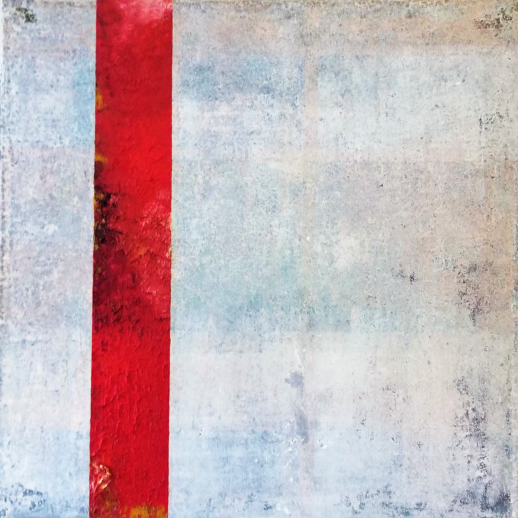 Red Strip on White Untitled 2, 2018